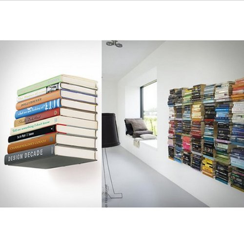 Wall Mounted Floating Bracket Conceal Invisible Bookshelf By BoatShop