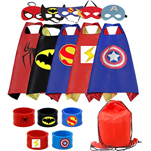 RioRand Superhero Capes 5PCS Kids Costumes with Masks and Slap Bracelets for Boys Dress Up Party Favors -