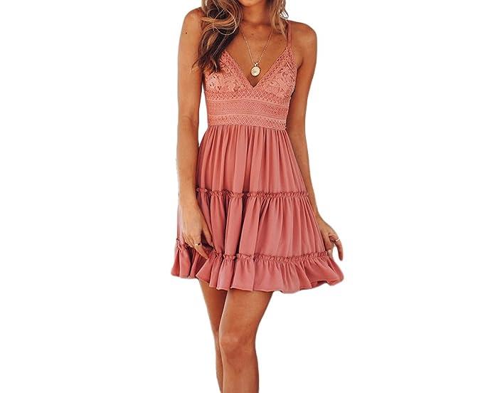 f3e6dd2d139c5 JUNBOON Womens Spaghetti Strap V-Neck Backless Lace Mini Swing Dress ...
