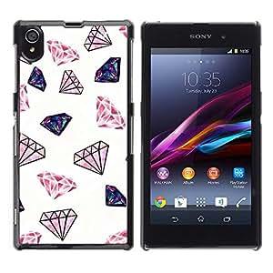 Diamante Blanco Rosa Rojo Bling Patrón - Metal de aluminio y de plástico duro Caja del teléfono - Negro - Sony Xperia Z1 L39