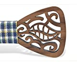 KOOWI Men's Wooden Bow Tie Creative Handmade Wood Necktie with Free Tie Clip Creative Gift (One Size, F)