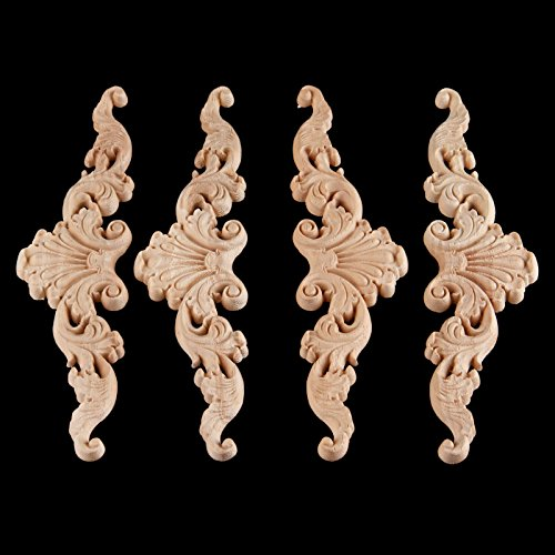 4pcs 20x5cm Wood Carved Long Onlay Applique Unpainted Frame Door Decor European Style Applique