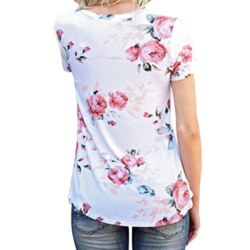 FAMILIZO La Manga Corta De Las Mujeres Imprimió La Camiseta Ocasional De Las Blusas De La Blusa Blanco