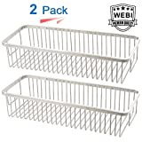 WEBI Wire Container, 15.7'' Sturdy Stainless Steel 304 Rectangular Storage Shelf, Shower Basket Hanging Organizer, for Bathroom, Kitchen, Bedroom, Garage, Storage Room, Brushed Finish,2Packs