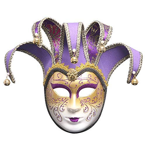 BLEVET Handpainted Venetian Masquerade Mask Jester Costume Carnival Fancy Dress Mardi Gras Wall Halloween Masks BK009 (Purple) -