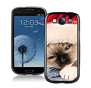 Best Buy Sleepy Red Hat Christmas Cat Black TPU Phone Case For Samsung Galaxy S3,Samsung I9300 Cases