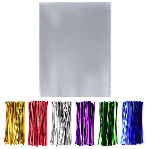 200 Clear Cello Cellophane Treat Bags 10X13 Inch with 200 Metallic Twist Ties Good for Gift Bakery Cookies Candies Dessert (10'' x -