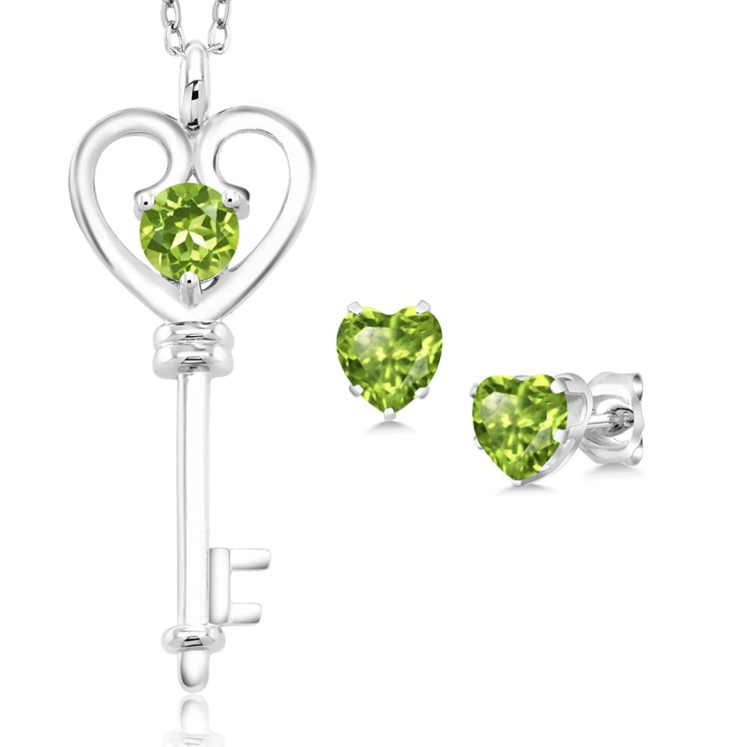1.50 Ct Round Green Peridot 925 Sterling Silver Key Pendant Earrings Set
