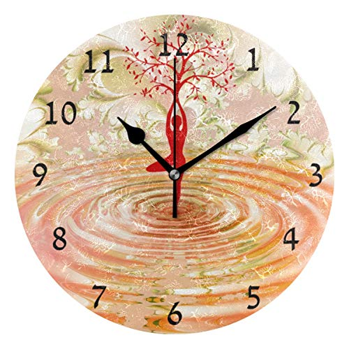 (Home Decor Dance Yoga Meditation Woman Fitness Health Nature Round Style N,Silent Non -Ticking Wall Clock, Battery Operated Art Decorative for Kitchen,Living Room,Kids Room and Coffee Decor (10 Inch))