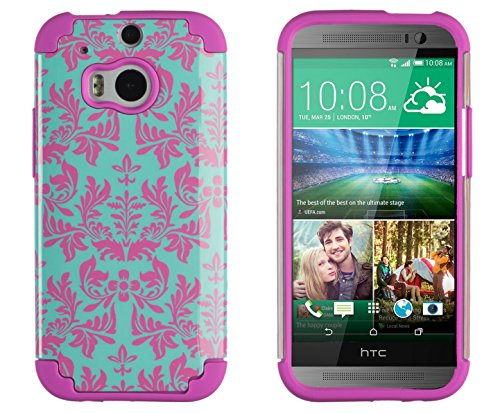 DandyCase 2in1 Hybrid High Impact Hard Sea Green Flower Pattern + Pink Silicone Case Cover For HTC One M8 (2014 release) + DandyCase Screen Cleaner