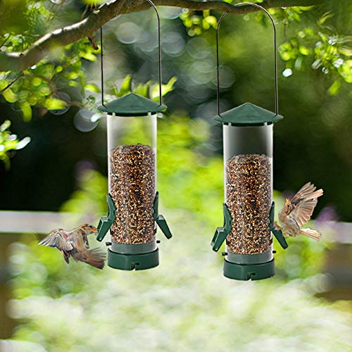 Twinkle Star Wild Bird Feeder Tube Feeder with Metal Handle Hanging for Outdoor Garden Yard Tree, Extensible & Composable (17.4 oz/ 2 Pack)