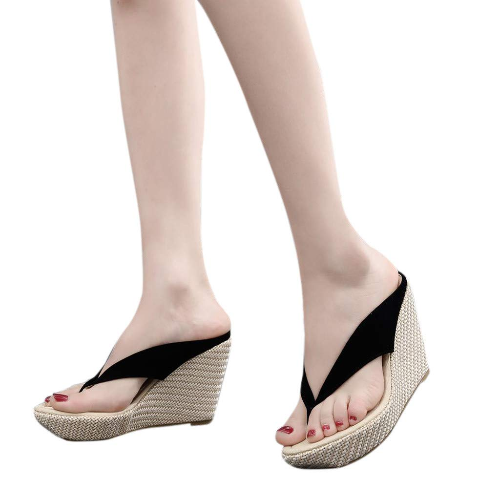 SMALLE_Shoes Wedge Flip Flops for Women,SMALLE◕‿◕ Women Beach Sandals Platform Wedges Sandals High Heels Wedges Slippers Black by SMALLE_Shoes (Image #3)