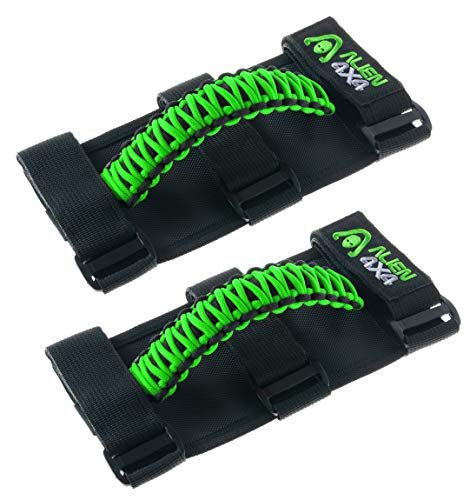 Alien 4x4 Jeep Grab Handles - Premium Paracord Jeep Grab Handles 3 Velcro Straps Easy to Install (Pack of 2) (Green)
