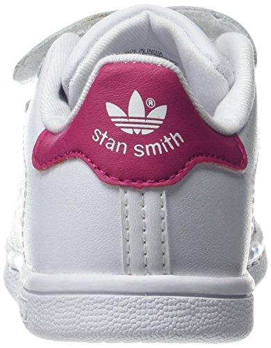adidas Unisex Baby Stan Smith CF Gymnastikschuhe Elfenbein (Ftwwht/ftwwht/bopink Bz0523)