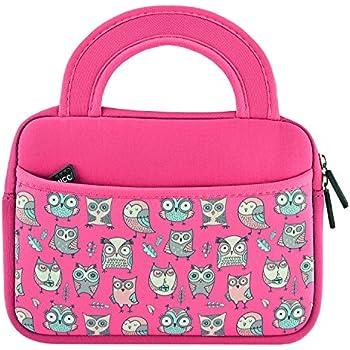 "KOZMICC 7 - 8 "" Tablet Ultra-Portable Sleeve Case Bag with Pocket, Pink Owl"