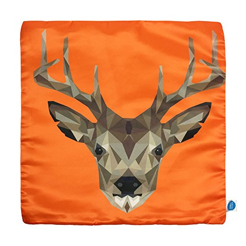 "GOSTAR StarGo Modern Animal Lovers Silk like Square Throw Pillow Covers Decorative Cushion Covers Pillowcases Indoor Sofa Couch Coffee Accent Kids room and bed 18""x18"" (Orange (Orange Silk Accent Pillow)"