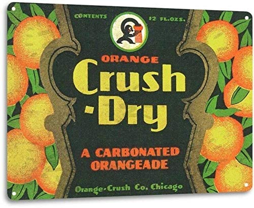 "Decsign Orange Crush Dry Cola Soda Advertising Vintage Retro Wall Decor Large - 8""X12"" Tin Metal Sign"