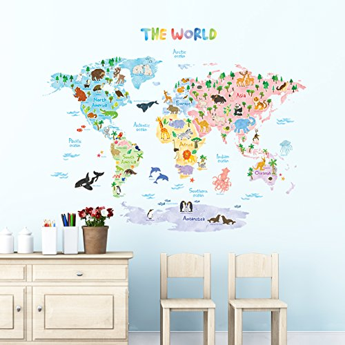 World map wall amazon decowall dlt 1615 animal world map kids wall decals wall stickers peel and stick removable wall stickers for kids nursery bedroom living room xlarge gumiabroncs Image collections