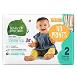 Seventh Generation Baby Diapers for Sensitive Skin, Plain Unprinted, Size 2, 180 Count (Packaging May Vary)