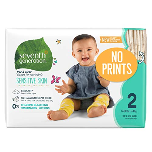 Seventh Generation Baby Diapers, Free & Clear for Sensitive Skin, Original No Designs, Size 2, 180 count (Packaging May Vary)