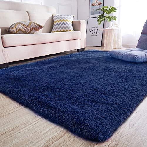 Junovo Rectangle Ultra Soft Area Rugs Fluffy Carpets for Bedroom Living Room Shaggy Floor Rug Home Decor Mats, 4 x 5.3ft, Indigo (Indigo Carpet)