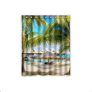 Amazon.com: Custom Tropical Beach Window Curtains/Drape/Panels ...