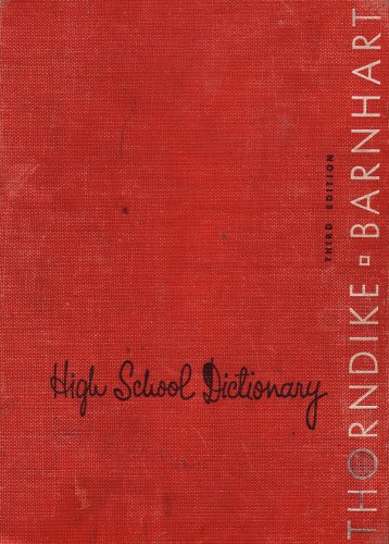 Thorndike & Barnhart High School Dictionary: Third Edition (624214)