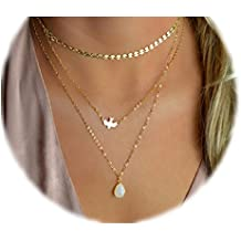 Boosic Double Layer Coin Choker with Moon Pendant Necklace Set for Women