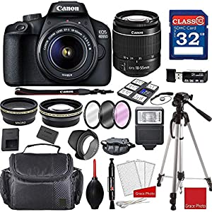 Best Epic Trends 51DR7G6nl4L._SS300_ Canon EOS 4000D DSLR Camera with 18-55mm f/3.5-5.6 III + Professional Accessory Bundle