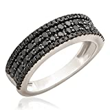 Brand New 1.02 Carat Round Brilliant Black Diamond Four Row Wedding Band, 10k White Gold, Size 5.5