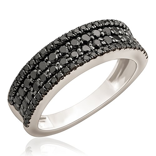 Brand New 1.02 Carat Round Brilliant Black Diamond Four Row Wedding Band, 10k White Gold, Size 5.5 by Prism Jewel