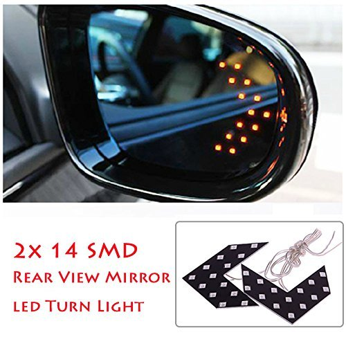 (2 Pcs 14 SMD LED Arrow Panel for Car Rear View Mirror Indicator Turn Signal)