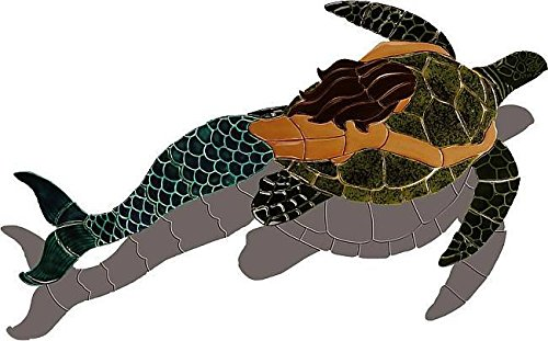 Mermaid With Trutle-Brown (with shadow) 59''x31'' by Nexus Pool Mosaics