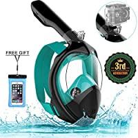 Poppin Kicks Full Face Snorkel Mask for Adult Youth and Kids | 180° Panoramic View Anti-Fog Anti-Leak Easy Breathe GoPro...