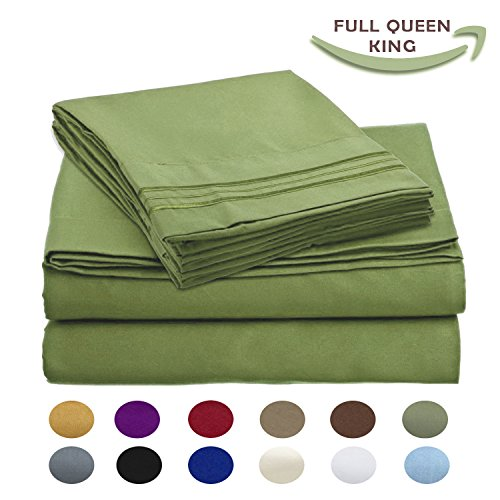 Couture Deluxe Gift Set (Luxury Egyptian Comfort Wrinkle Free 1800 Thread Count 6 Piece Full Size Sheet Set, GREEN Color, 2 Bonus Pillowcases FREE!)