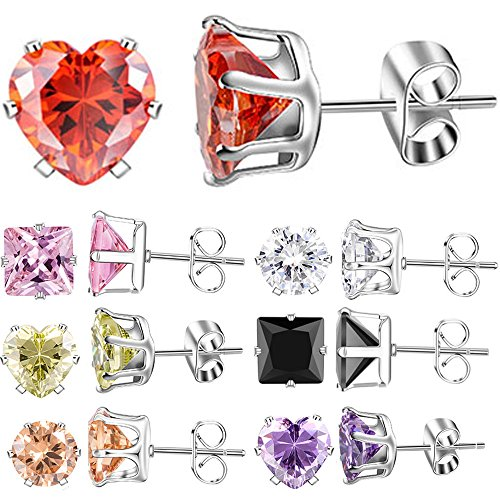XZP Mixed Shapes Stainless Steel Stud Earrings Heart Square Round Fashion Zirconia Jewelry 7 Pairs In Set For Women Gift 8mm