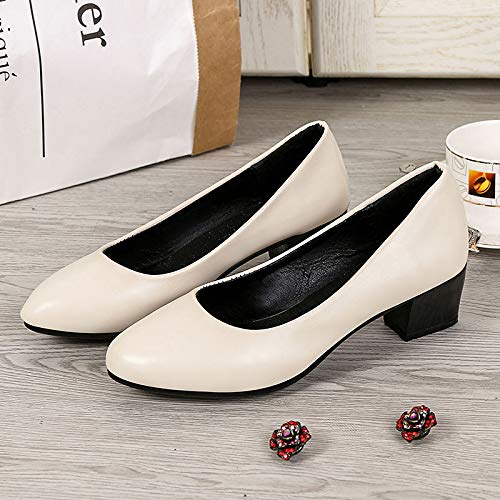 Heel Heels Shoes Women's Chunky Black Black White Fall ZHZNVX Round Basic Pump Toe Polyurethane PU azqnU0w1