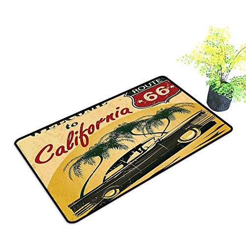 (gmnalahome Front Welcome Entrance Door Mats Retro Welcome to California Advertising Seat of Hollywood in Pop Art Style Neo Home Decor Rug Mats W23 x H17 INCH )
