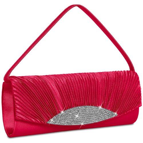TA289 Satin many Evening Bag Womens colours Rhinestones Clutch with Gorgeous CASPAR Red vHxg6qwn
