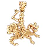 14K Yellow Gold Indian On Horse Pendants