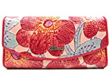 ArtsEye Women's Genuine Leather Floral Embossed Trifold Wallet (mayflower red)
