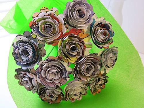 Scalloped Comic Book Paper Flowers Bunch, 1 Dozen 1.5 Inch Roses on Stems, Cartoon Theme Bridal Shower Decoration, Home Decor, Superhero Birthday Party Decor Centerpiece ()