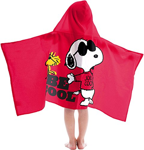 Jay Franco Peanuts Super Soft & Absorbent Kids Hooded Bath/Pool/Beach Towel, Featuring Snoopy & Woodstock - Fade Resistant Cotton Terry Towel, 22.5