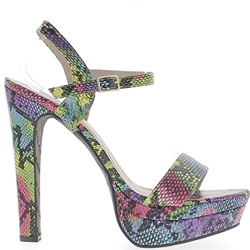 Sandales multicolores grande taille à talon de 15,5cm à plateforme de 4,5cm effet python