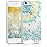 kwmobile Crystal TPU Silicone Case for Apple iPhone SE / 5 / 5S in Design Vintage Flower ring turquoise yellow transparent