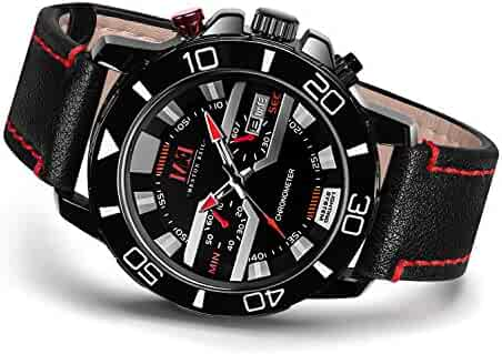 Menton Ezil Classic Sport Analog Watch Genuine Leather Quartz 3AM Waterproof Auto Calendar Watches for Teens Boy