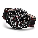 Menton Ezil Men's Sport Leather Strap Analog Quartz Waterproof Watches Auto Calendar Wrist Watch for Teen Boys