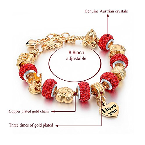 Long Way Gold Plated Snake Chain Glass Beads ''I Love You'' Charm Beaded Bracelets for Women by Long Way (Image #6)