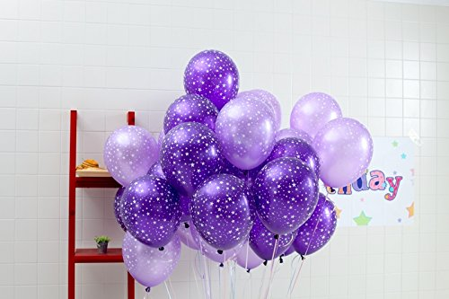 30ct Assorted Lavender Dark Purple Around Star Balloons by Sopeace (Lavender, Dark ()