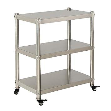 Carros de servicio almacenamiento Estante móvil Cocina Estante de acero inoxidable Carrito de piso Horno de microondas Horno de almacenamiento Rack 3 capas ...